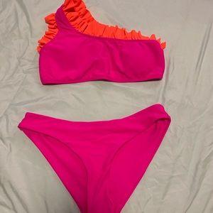 Magenta and Orange Ruffle bikini
